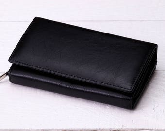 Womens leather wallet Womens wallet Leather purse wallet Black leather clutch Leather bifold wallet Leather business card wallet