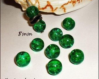 """10 """"Round"""" 8 mm Green Crackle glass beads"""