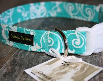 """Damask Dog Collar, Designer Dog Collar, Dog Collars, Girl Dog Collar, Boy Dog Collar, Female Dog Collar, Wedding Dog Collar, """"The Tiffany"""""""