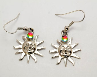 Sterling Silver Multi-colored Mystic Quartz Sun Dangle Earrings