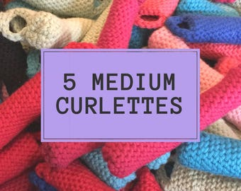 Curlettes: Medium set. PACK OF 5. The comfy way to get your vintage hair style overnight!