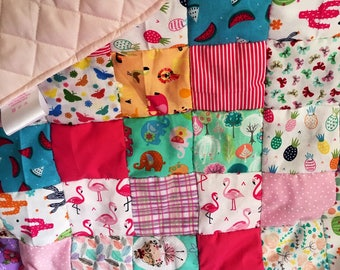 Pretty in pink newborn baby girl patchwork quilt, play mat or baby shower gift