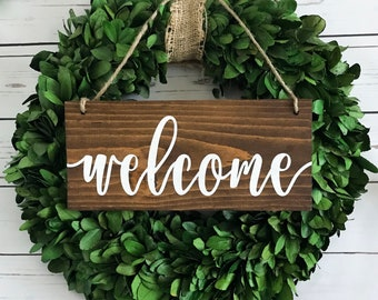 Welcome Door Sign | Hanging Welcome Sign | Rustic Welcome Sign | Entryway Sign | Wood Welcome Sign | Wreath Sign | Welcome Decor