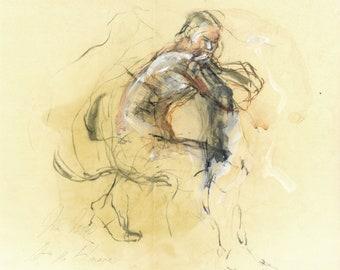 """Originalzeichnung, """"Nude IV"""", männlicher Akt, Mischtechnik auf Papier, Aktzeichnung, 30x36 cm"""