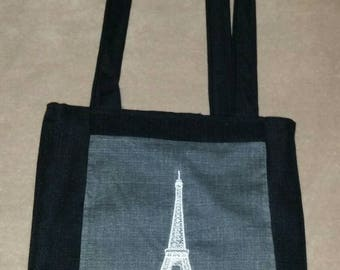Eiffel tower  reversible  tote bag handmade embroidered book bag  shopping bag reusable grocery bag craft tote