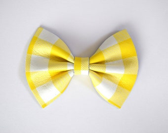 Sunshine Plaid Yellow Leather Bow Beautiful Adorable Spring Summer Clip for Newborn Baby Little Girl Child Adult Photo Prop Bright Pictures