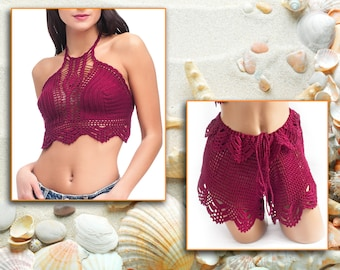 Crochet burgyndy bikini, women's swimwear, Summer trends, choice color bikini