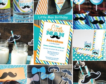 INSTANT DOWNLOAD, Birthday, Little Man Mustache Bash Printable DELUX Party Package, You Edit Yourself in Adobe Reader