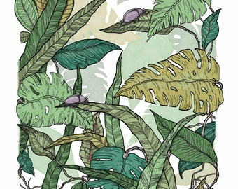 Beetle Jewels 'Home' -  Limited edition fine art giclée print / A3 / nature / fine art print
