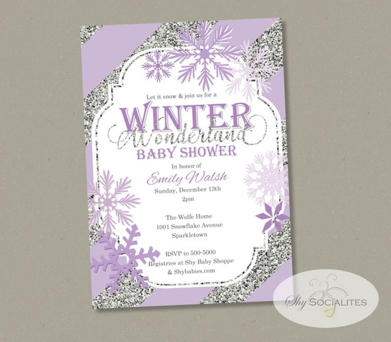 Perfect Items Similar To Winter Wonderland Baby Shower Invitation | Snowflakes,  Purple U0026 Silver Glitter Stripes | INSTANT DOWNLOAD Editable Text PDF On Etsy