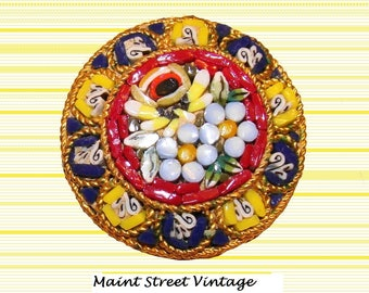 Italian Micro Mosaic Millefiori Round Flower Design Brooch