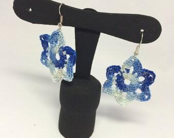 Flower Blue water lilies-crochet earrings