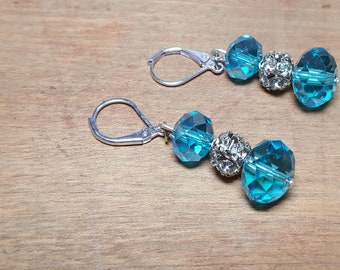 Turquoise Blue Bead Earrings Rhinestones Glass Beads Lever Back Free US Shipping