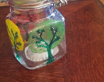 Four Seasons Tree, Apothacary Jar, Acrylic Painted Glass Art, Homemade, Handmade