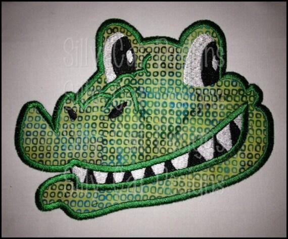 Gator Smiley Face Applique Design