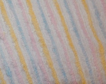 Cabin Crafts Pastel Striped Vintage Cotton Chenille Bedspread Fabric 18 x 24 Inches