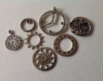 Charms - Silver Mix gears watches