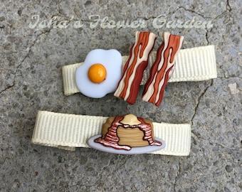 Breakfast barrette, bacon and eggs hair clip, pancakes barrette, waffle barrette