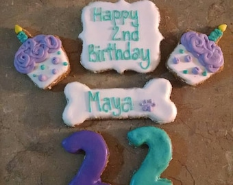 Personalized second  Birthday Dog Treats cupcake number two dog treats
