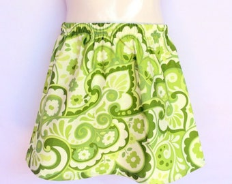 Girls Lime Green Paisley Skirt - sizes 1 to 5 avail - retro, 70's