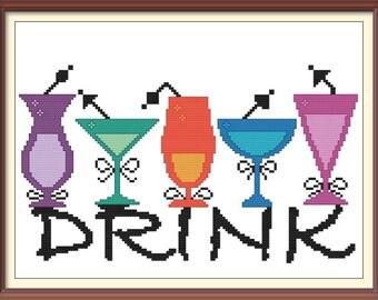 Cocktail Drinks Celebration Modern Cross Stitch Pattern PDF Chart Silhouette Pattern