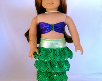 18 inch American Girl Sized Ariel Mermaid Costume with Pearl Necklace