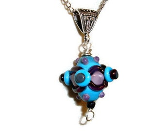 Funky BOHO Design in Turquoise, Purple and Pink in this Lampwork Bead which Hangs on A bail on this FUN Necklace - Handmade - Srajd