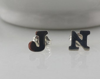 Sterling Silver Initial Earrings (Pair) - Custom Silver Letter Stud/Post Earrings