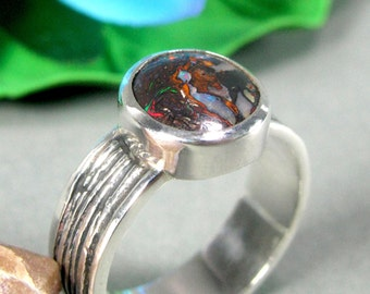 FREE SHIPPING Opal Ring in Sterling Silver - Silver Opal Ring, Opal Ring for Woman, Australian Boulder Opal, Fire Opal, Handmade Silver Ring