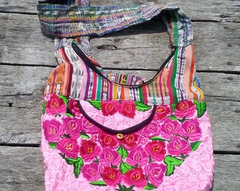 """Boho Crossbody Bag VERY COLORFUL Festival Bag 16"""" x 12"""" Handmade Roses on front Stripes on Back THICK Strap Vintage Purse Cotton Bag"""