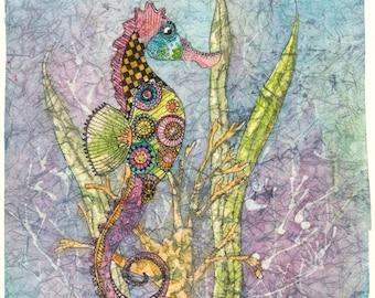 Seahorse Art,Batik Art,Watercolor Seahorse, Aluminum,Metal Art,Zen-doodling,Sea Art Prints,Seahorse Painting,Watercolor Batik,Nature Art,