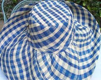Nautical Gingham Wide Brim Sun Hat