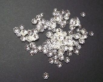 200 bead caps / caps 6 mm silver color.