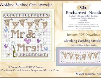 Wedding Bunting Card PDF Cross Stitch Chart // Cross Stitch Pattern // Instant Download // Cross Stitch PDF // Wedding Card