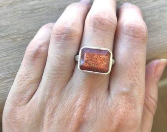 Statement Rectangle Sunstone Ring- Golden Orange Gemstone Ring- Alternative Engagement Ring- Unique Solitaire Minimalist Ring