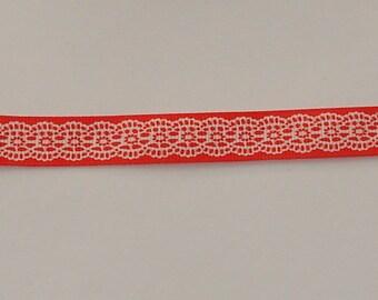 1 m width 16mm pink/orange satin ribbon white lace design