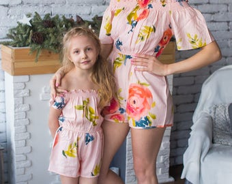 Matching Rompers - Blush Off the shoulder Baby Mommy Matching rompers, Mom & Me rompers, Floral pattern, Twinning, Mommy baby, Mini me