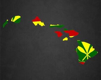 Rasta Hawaiian Island Vinyl Decal