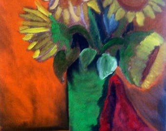 4 Sunflowers and a Green Vase
