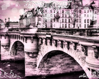 Paris Photography, Paris Fine Art,  Fine Art Prints, Pink Paris Photo, Paris Decor, French Decor, French Fine Art, French Photography, Seine