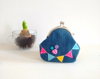 Women's purse, fabric purse, vintage clutch bag, pocket money with automatic closure, gift for you, jeans purse