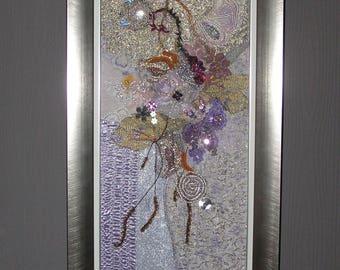 Tableau d'art textile mauve et gris