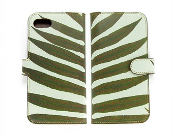Leather Phone Case - iPhone 7 / 6/6s Wallet Folio Case - Minimal Fern Leaf Print