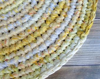 Big Yellow Rag Rug - Round Rug for Nursery - Reclaimed Fabrics - Ecofriendly Home Decor - Lemon Sunshine - Wedding Gift - Handwoven Crochet