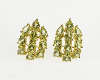 14K Pear Cut Peridot Curved Cluster Post Back Earrings Yellow Gold