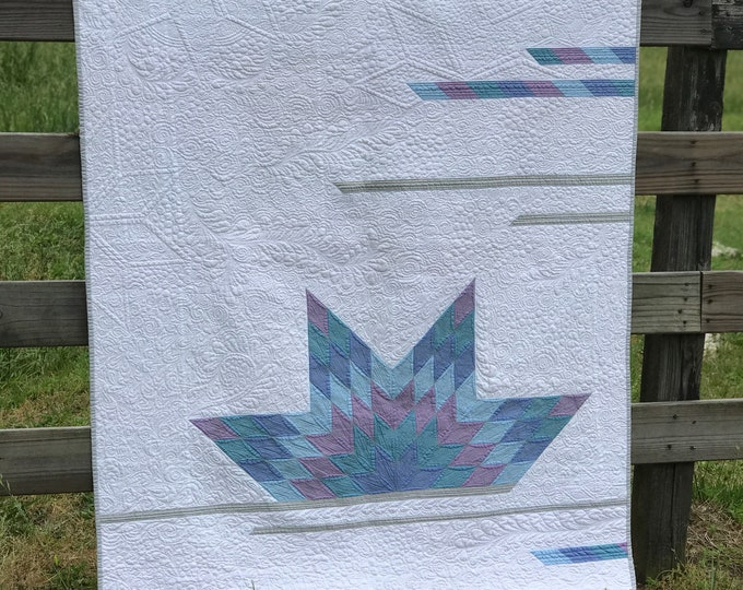Lotus Quilt - Finished Throw Size Quilt or Wall Hanging