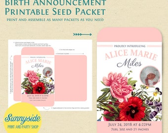 Birth Announcement Printable Seed Packet - DIY new baby favor, customized seed packet file with photo, you choose flower and colors