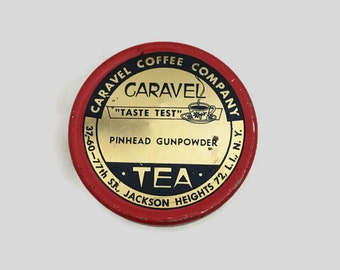 Vintage Tea Storage Tin, Round Container, Caravel Pinhead Gunpowder Tea Box, Carave Coffee Company