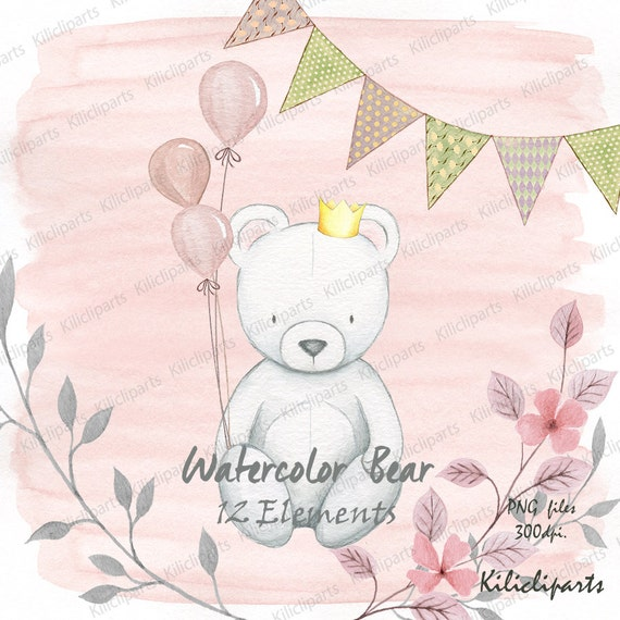 Watercolor pink bear clipart bear banner and balloon birthday watercolor pink bear clipart bear banner and balloon birthday baby shower invite birthday invitation from kilicliparty on etsy studio filmwisefo