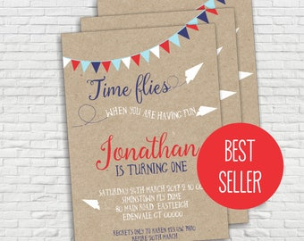 Airplane Birthday Invitation, Paper Airplane, First Birthday, How Time Flies, Paper Plane, Editable, Digital, INSTANT DOWNLOAD